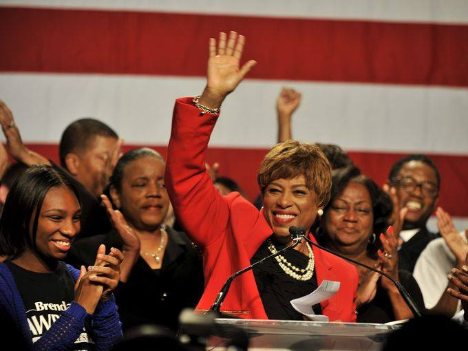 Congresswoman-Elect Brenda Lawrence delivers her victory speech on Election Night, November 2014.
