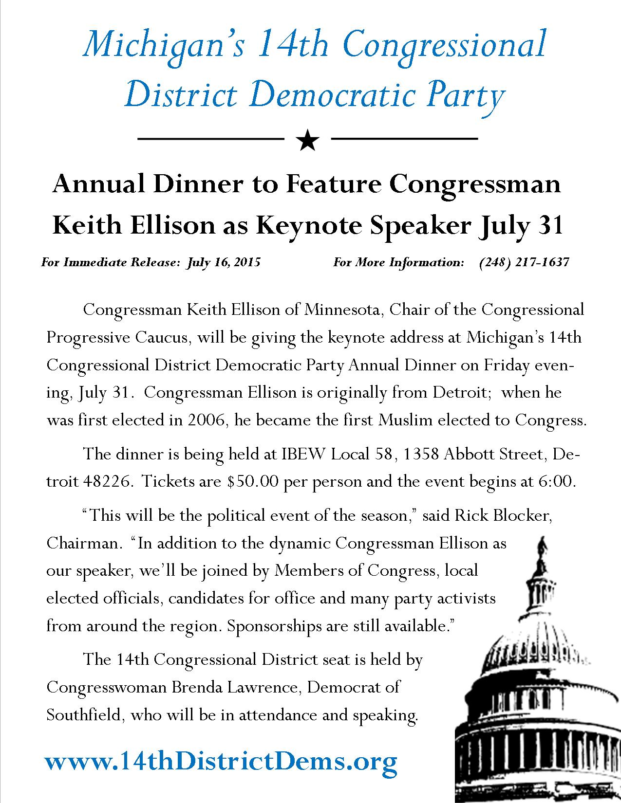 14th District Press Release - Dinner to Feature Congressman Keith Ellison as Keynote July 31
