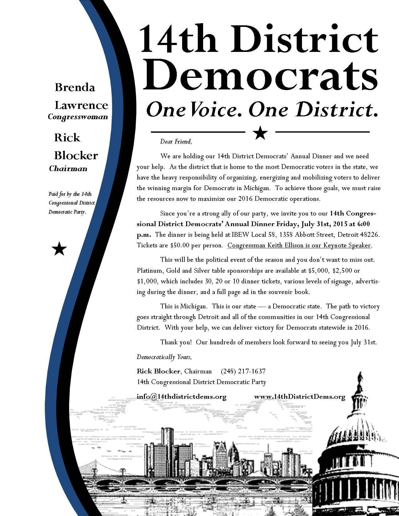 2015 14th District Annual Dinner Solicitation Letter