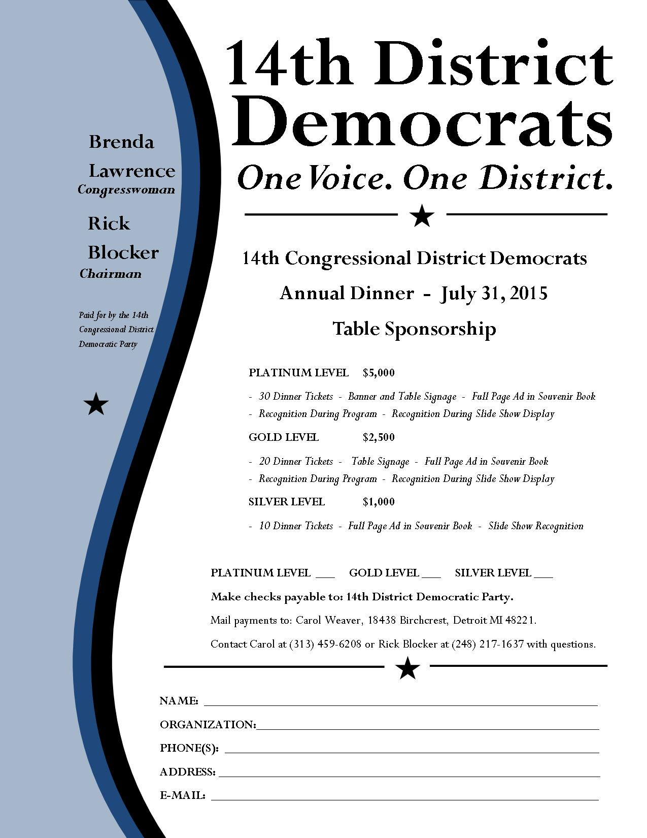 2015 14th District Annual Dinner Table Sponsorship Form
